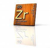 Zirconium Form Periodic Table Of Elements - Wood Board