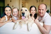 Cute siblings, their parents and dog