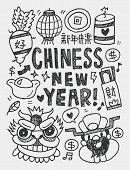 Chinese New Year Elements Doodles Hand Drawn Line Icon,eps10