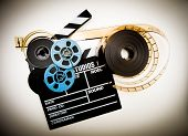 Clapper Board And Film Reels Vintage Color Effect
