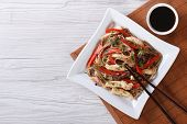 Yakisoba With Chicken And Vegetables Top View Horizontal