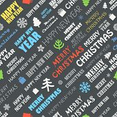Christmas season elements seamless background. Greeting card elements