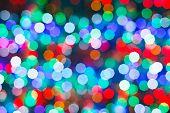 Blurred Christmas Lights In Dark Night
