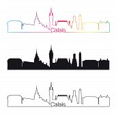Calais Skyline Linear Style With Rainbow