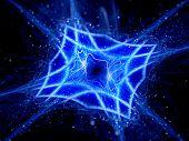 Blue Glowing Mesh In Space
