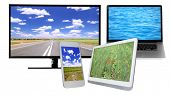 Monitor, laptop, tablet and phone with nature wallpaper on screens in collage isolated on white