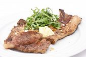 Pork T-bone steak with simple salad