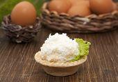 Tartlet  With Cheese And Egg Balls   And Eggs In The Basket.
