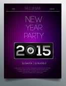 New year party flyer template - modern purple and silver design