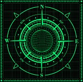 stock photo of compass rose  - Radar compass rose with globe - JPG