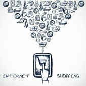 Internet Shopping Sketch Concept