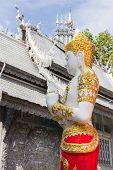 Asian Angel Sculpture Wearing Golden Jewelry