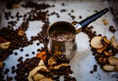 Coffee, coffee beans and dried apples