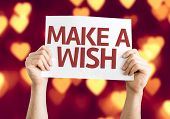 Make a Wish card with heart bokeh background