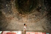 Man Inside A Mingun Bell In Myanmar.