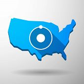 Usa Map Icon With An Atom