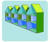 pic of row houses  - illustration of axonometric houses standing on a row - JPG
