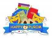 stock photo of purim  - Happy Purim banner with Purim masks - JPG