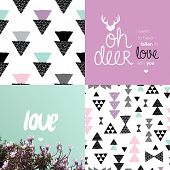 geometric background pattern set and Valentine love theme postcard typography cover design collection