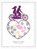 Vector abstract pink, yellow and gray leaves couple on tandem bicycle heart silhouette frame pattern