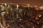 stock photo of new york night  - an aerial view of manhattan at night - JPG