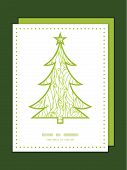 Vector abstract swirls texture Christmas tree silhouette pattern frame card template