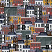 vector seamless flat pattern with different city buildings. city background