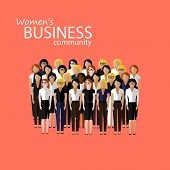 vector flat  illustration of women business community. a large group of business women or politician