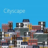 vector flat illustration of different city buildings. citycape background