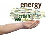 Concept or conceptual abstract green ecology, conservation word cloud text in man hand isolated on background