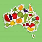 Map Of Australia With Fruits