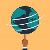 Globe Earth Flat. Vector