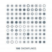 vector set of 100 graceful snowflake shapes