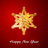 Holiday vector illustration of a golden foil snowflake. Merry Christmas. Festive poster, flyer, gree