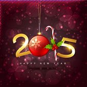 creative 2015 style design with christmas ball and candy placed on purple shiny background covered with circles