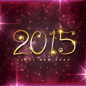 creative golden 2015 text on shiny dark pink background with circles