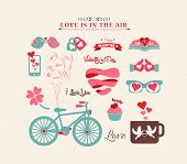 Valentine's day design, labels, icons elements collection