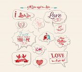 Valentine's day design, labels, icons bubble collection