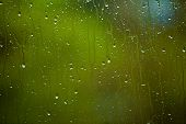 Closeup Of Water Drops On Glass As Background