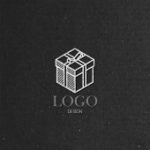vector illustration with isometric gift box on cardboard  texture. Logo design