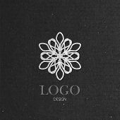 vector illustration with a graceful snowflake on cardboard texture. Logo design