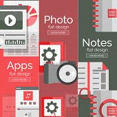 Set of flat design mobility concepts - apps, photo camera and papers or documents, notes