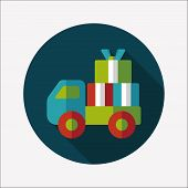 Shopping Freight Transport Flat Icon With Long Shadow,eps10