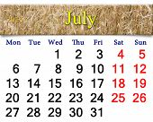 Calendar For July Of 2015 With Field Of Wheat