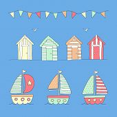 Beach huts, bunting & sailing boats