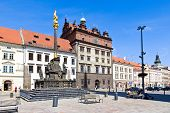 Town Hall And Plague Column, Plzen, Czech Republic