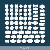vector set of 70 retro label shapes for design