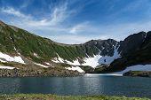 Mountains And Blue Lake On Kamchatka Peninsula