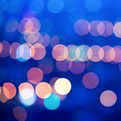 Beautiful Big City Blurring Lights Abstract Circular Bokeh Blue Background, Closeup