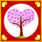 Pink hearts tree card